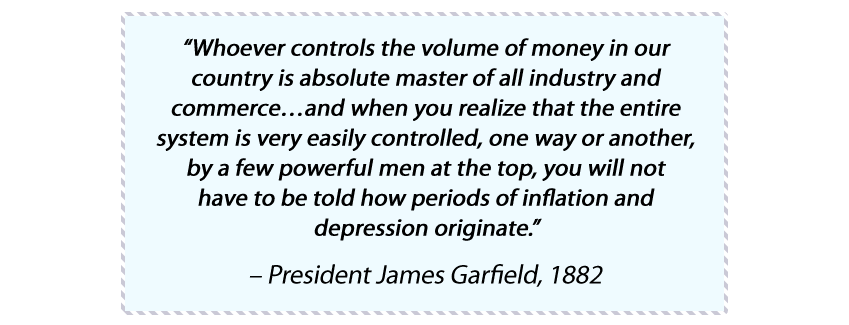 James Garfield money gold quote