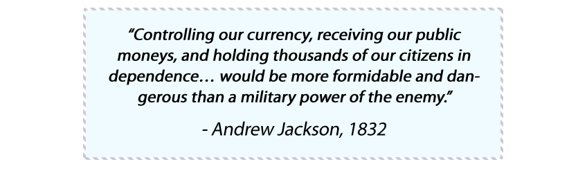 Andrew Jackson currency gold quote