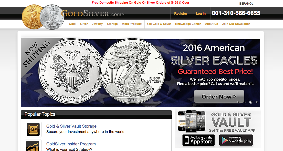 GoldSilver website screenshot