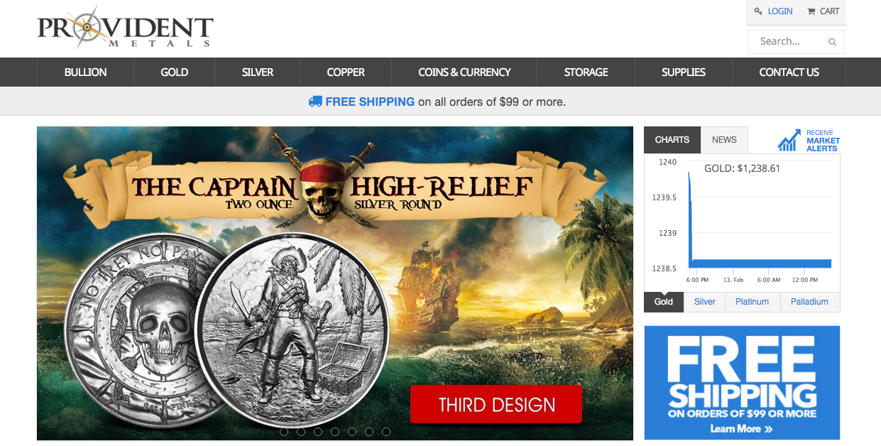 Provident Metals website screenshot