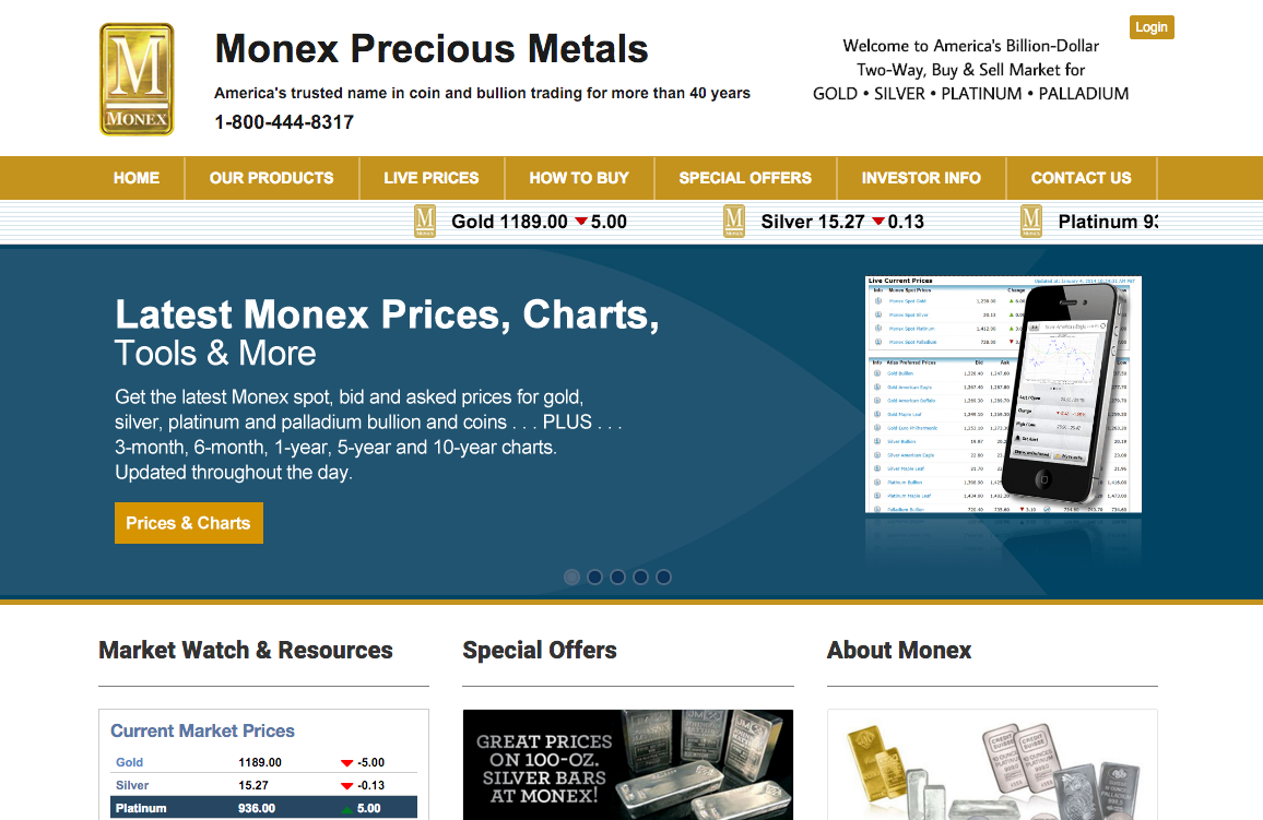 Monex website screenshot